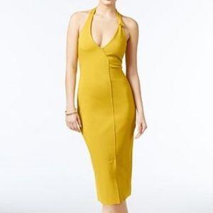 New Guess Odiana Halter Dress Gold Medium